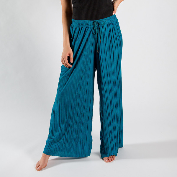 Wholesale long palazzo pants adjustable waist string One fits most inseam Polyes