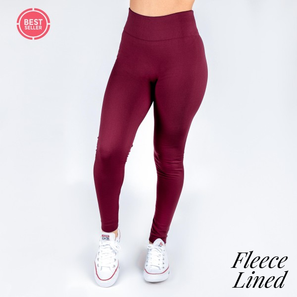 Wholesale burgundy fleece lined leggings One fits most full winter weight Offere