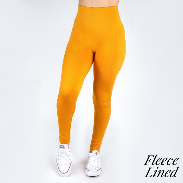 Wholesale mustard one fits all full fleece lined leggings Offered everyday essen