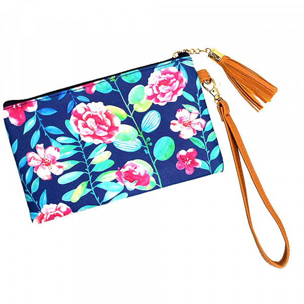 Wholesale flower wallet clutch wristlet Pu exterior Polyester interior