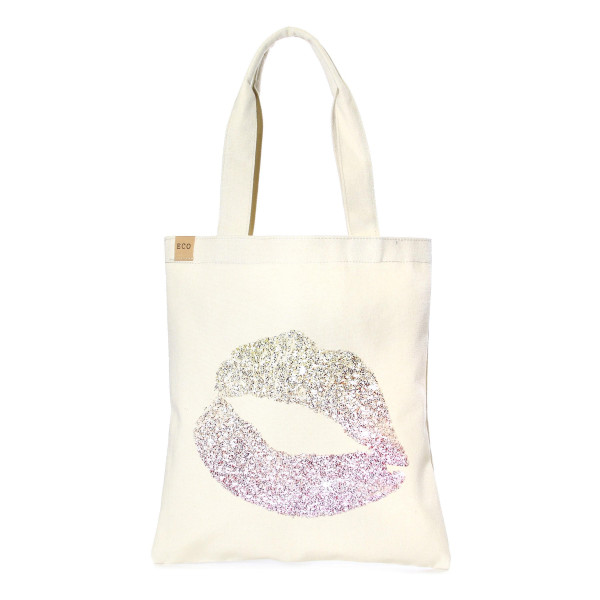 Wholesale eco friendly tote bag Lipstick Kiss Print Cotton