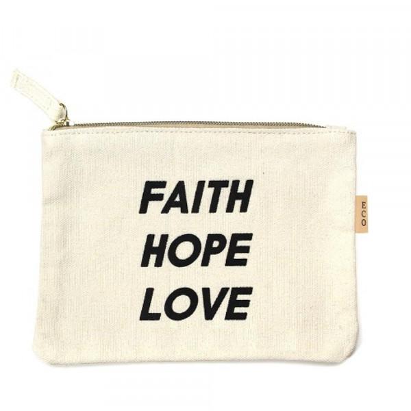 Wholesale canvas zipper pouch Faith Hope Love Cotton