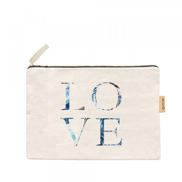 Wholesale canvas zipper pouch Love Cotton
