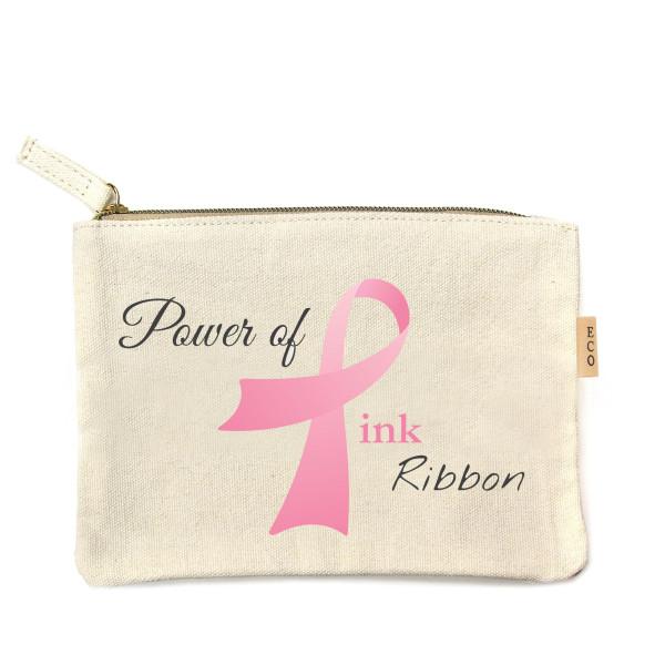 Wholesale canvas zipper pouch Power Pink Ribbon Cotton