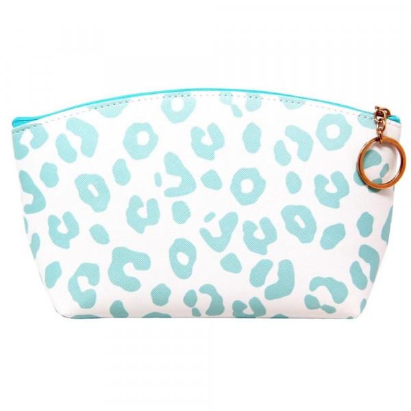Wholesale faux leather pouch light blue cheetah print top zipper closure lined i