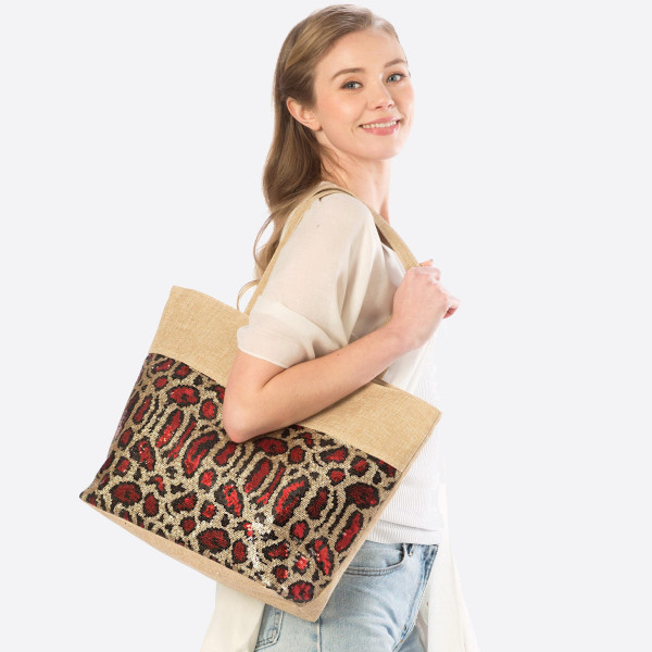 Wholesale animal print sequin bag inside pockets polyester Approximate