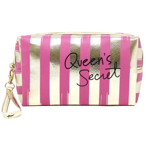 Wholesale queen s secret zip closure black gold striped hand bag makeup bag wris