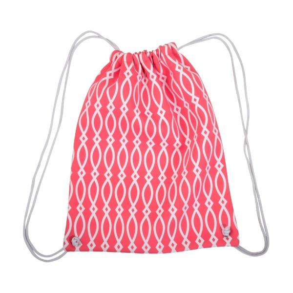 Wholesale neoprene drawstring bag hot pink white pattern monogramming bag has st