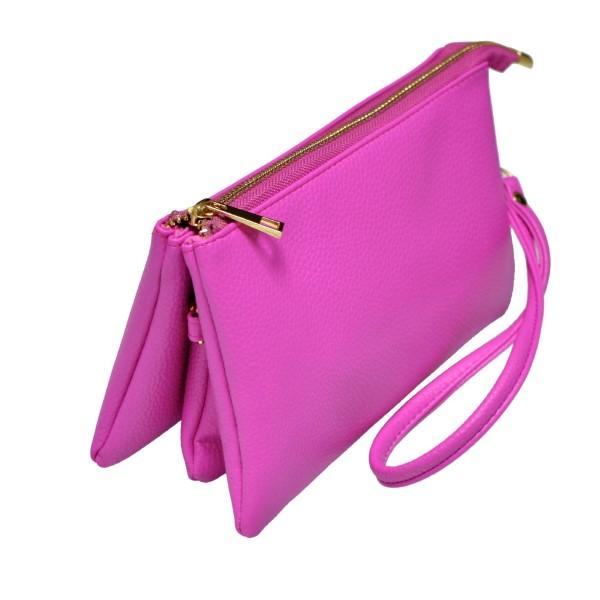 Wholesale multi compartment pink clutch comes detachable wristlet strap adjustab