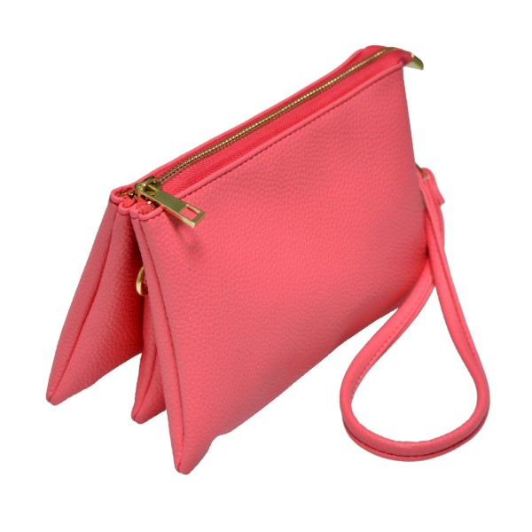 Wholesale multi compartment coral clutch comes detachable wristlet strap adjusta