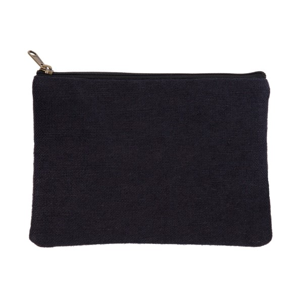 Wholesale black burlap pouch top zipper closure lined inside tall Great monogram