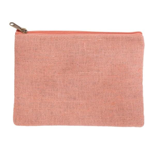 Wholesale mauve pink burlap pouch top zipper closure lined inside tall Great mon