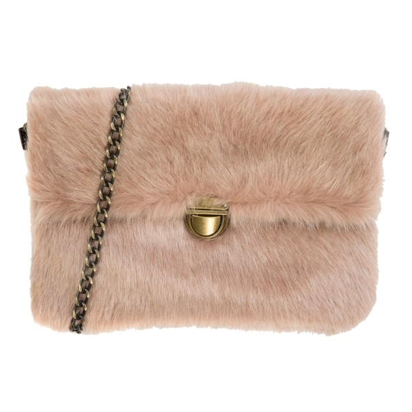 Wholesale faux fur clutch handbag burnished gold buckle zipper closure inside zi
