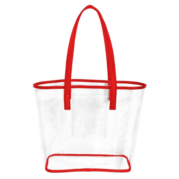 Wholesale stadium approved clear PVC tote bag trimmed team s color has inner poc