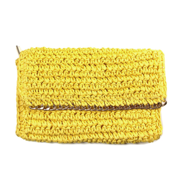 Wholesale woven straw clutch magnetic zipper closure gold accents paper