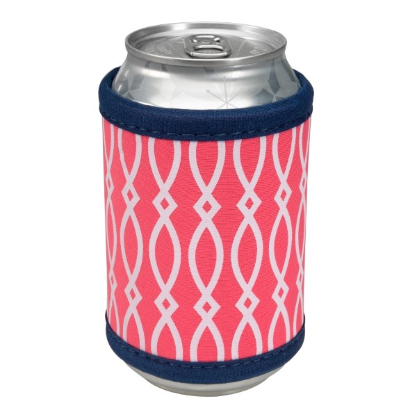 Wholesale neoprene velcro can coozie hot pink white pattern navy blue trim monog