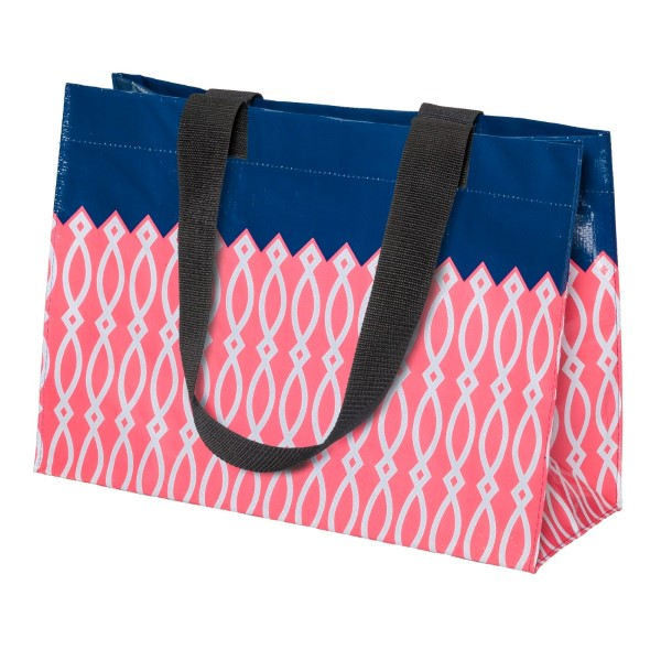 Wholesale pink white navy blue reusable tote bag up lbs water resistant embroid