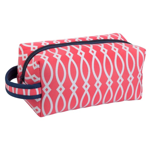 Wholesale pink white navy blue neoprene cosmetic bag top zipper travel machine w