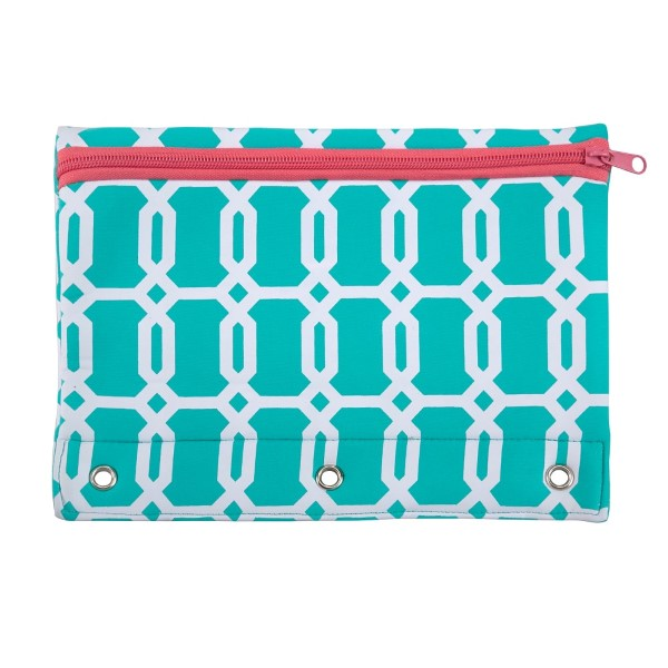 Wholesale neoprene pencil pouch fits standard three ring binder zipper closure e