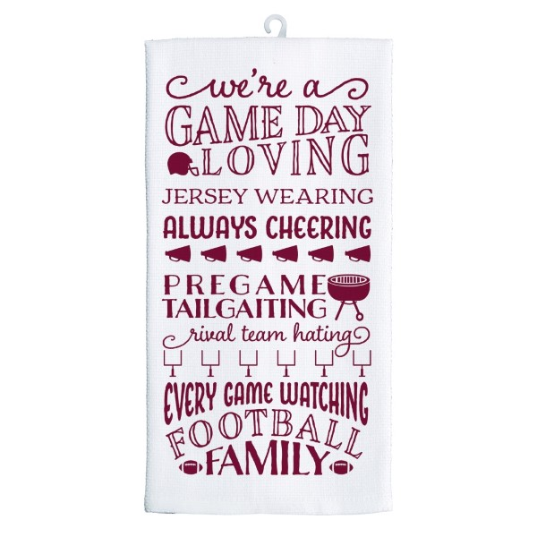 Wholesale gameday tea towel maroon white reads We re game day loving jersey wear
