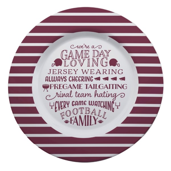 Wholesale gameday melamine plate maroon white reads We re game day loving jersey