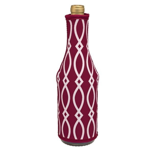 Wholesale insulated neoprene wine coozie maroon white print monogramming machine