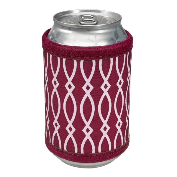 Wholesale neoprene velcro maroon white coozie fits bottle cans flasks monogrammi