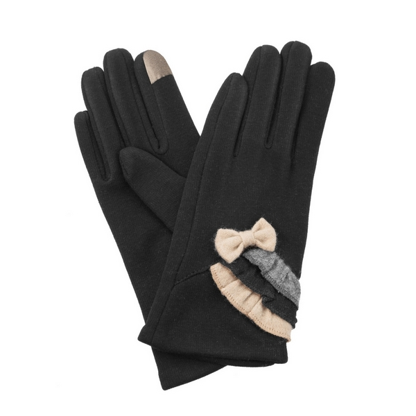 Wholesale black fleece lined gloves touchscreen fingertips bow ruffles