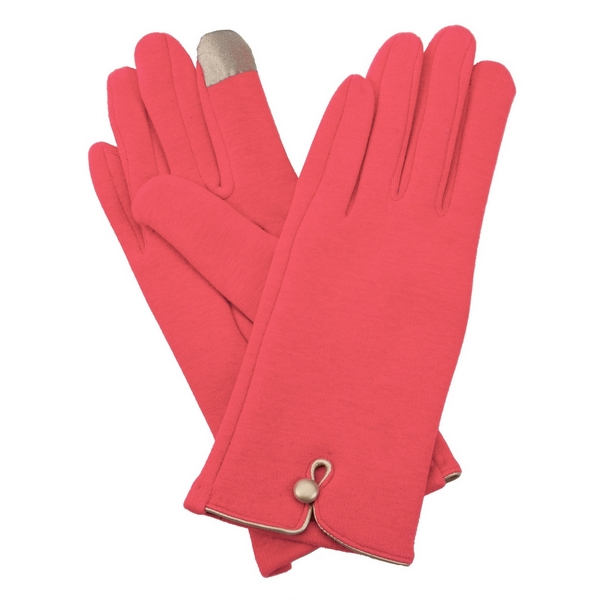 Wholesale coral fleece lined gloves touchscreen fingertips gold button detail