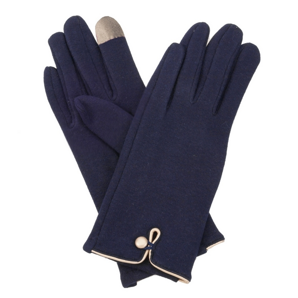 Wholesale navy blue fleece lined gloves touchscreen fingertips gold button detai