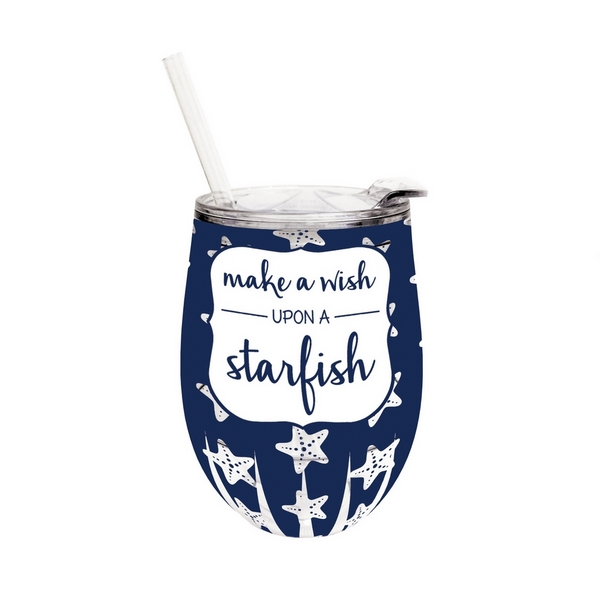 Wholesale ounce plastic stemless wine sippy cup lid straw saying Make wish upon