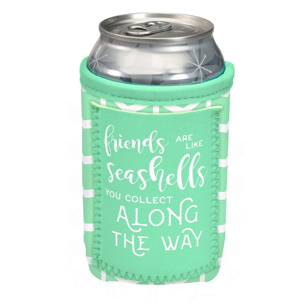 Wholesale can cooler pocket saying Friends like seashells collect along way