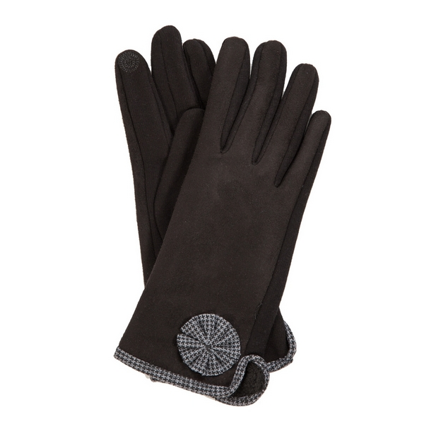 Wholesale black smart gloves houndstooth trim