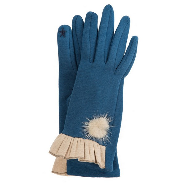 Wholesale solid smart touch gloves ruffle trim pom pom accent One