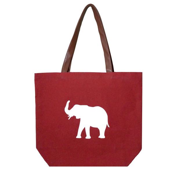 Wholesale crimson tote bag white elephant flat bottom faux leather handles shoul