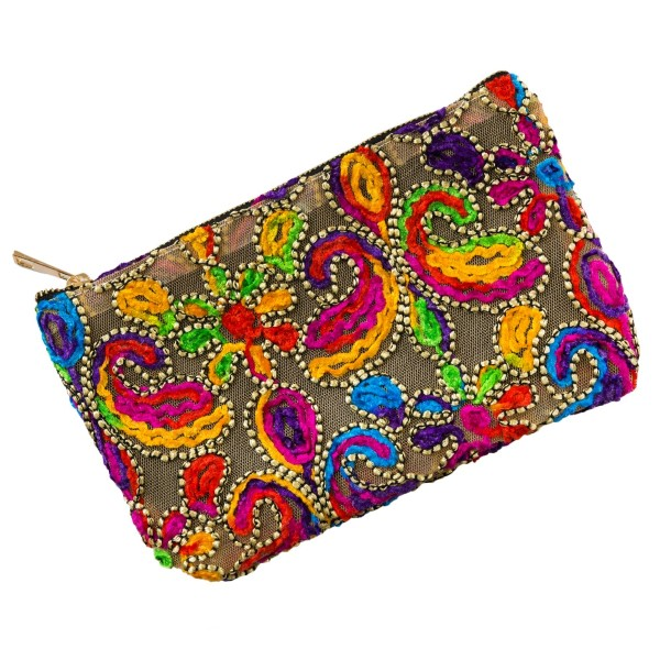 Wholesale mesh pouch top zipper closure bright multicolored paisley embroidered