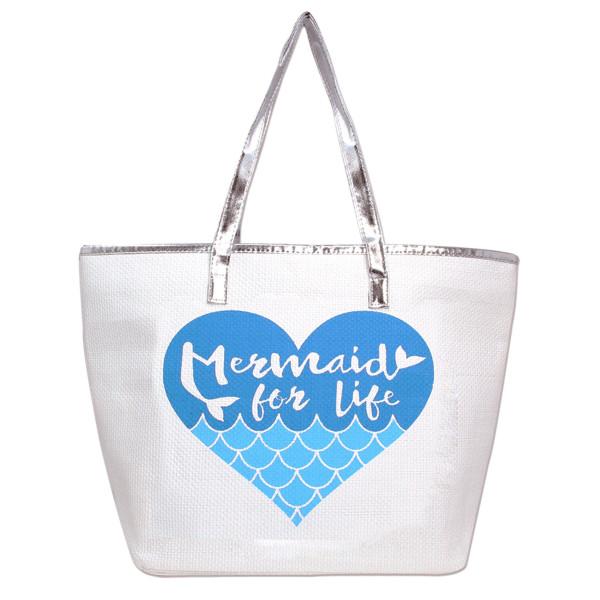 Wholesale white Mermaid Life tote bag faux leather handles top zipper closure Wo