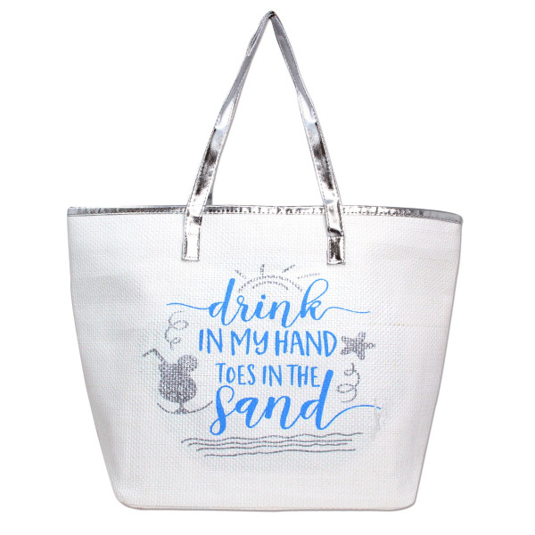 Wholesale white Drink my hand toes sand tote bag faux leather handles top zipper
