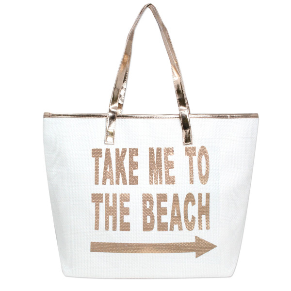 Wholesale white take me beach tote bag faux leather handles top zipper closure p