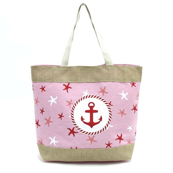 Wholesale anchor starfish printed tote bag fully lined interior magnetic closure
