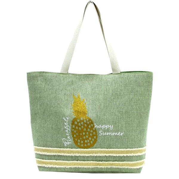 Wholesale glitter pineapple printed tote bag fully lined interior magnetic closu