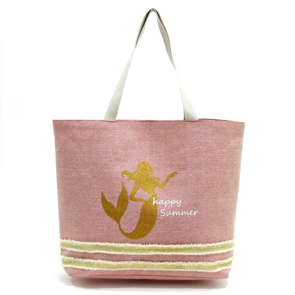 Wholesale glitter mermaid printed tote bag fully lined interior magnetic closure