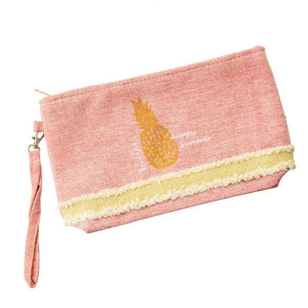 Wholesale canvas zipper pouch glitter pineapple top zip closure line inside wris