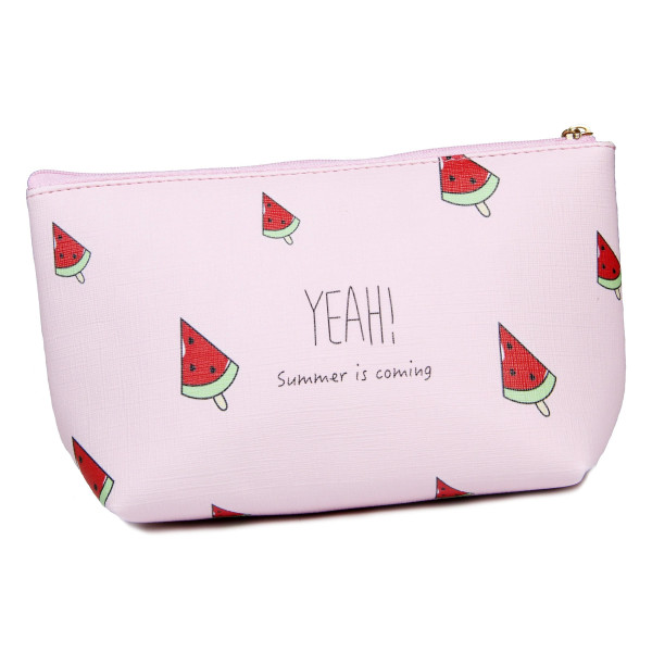 Wholesale faux leather pouch top zipper closure lined inside PU leather