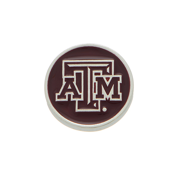 Wholesale silver officially licensed Texas M University snap charm stamped ATM S