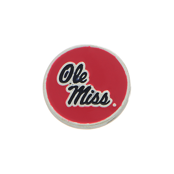 Wholesale silver officially licensed collegiate snap charm stamped Ole Miss Snap