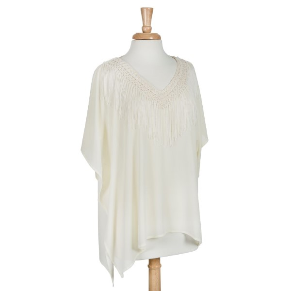 Wholesale cream lightweight poncho fringe Polyester One fits most