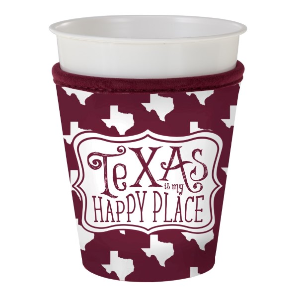 Wholesale maroon white insulated neoprene Texas M cup coozy Fits most plastic pa
