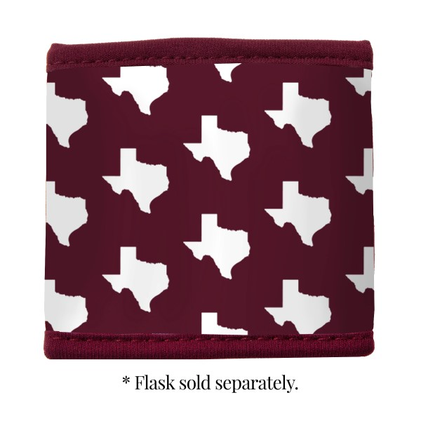 Wholesale maroon white neoprene Texas M velcro flask coozy