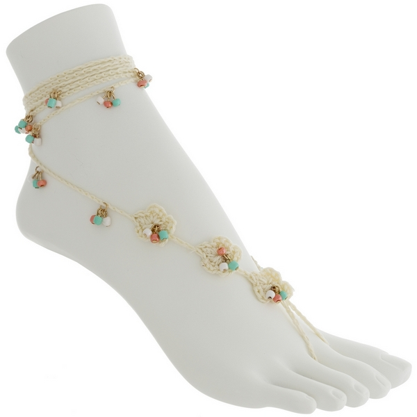 Wholesale set two fashion foot jewelry anklets ivory crochet flowers coral mint